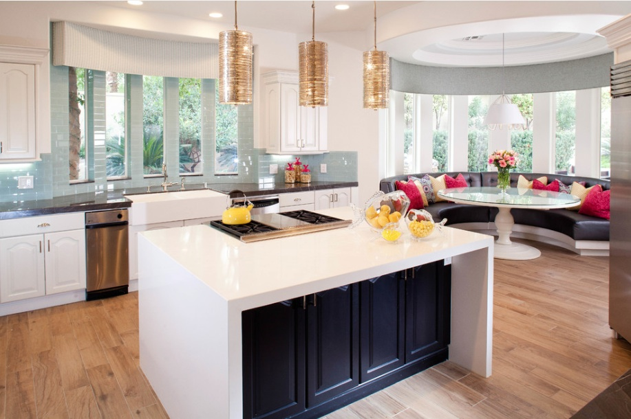 white-kitchen-black-island-banquette