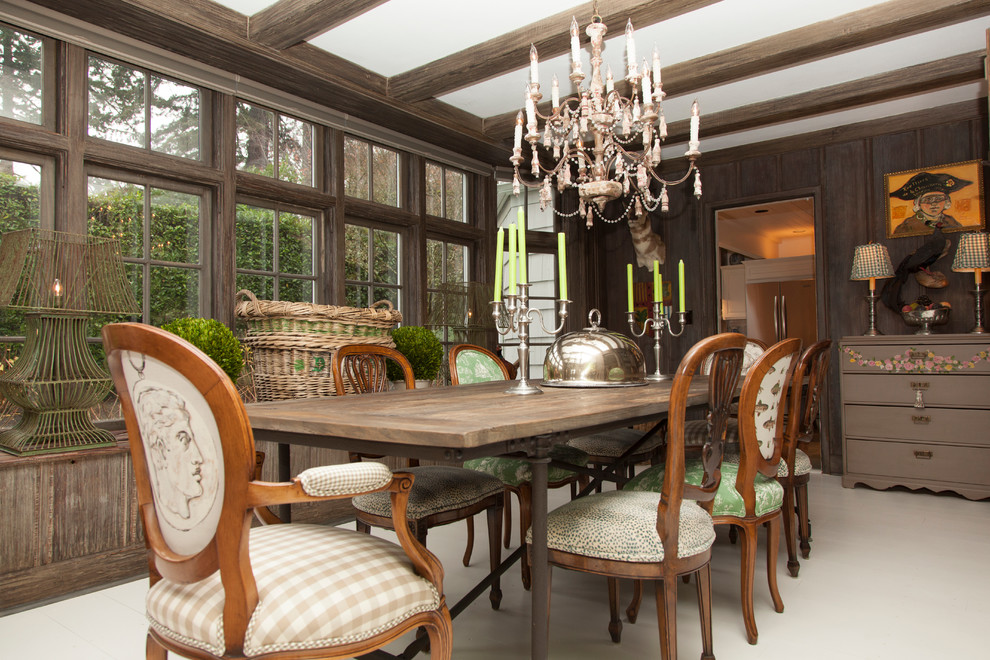 Astounding-Rustic-Country-Dining-Table-Ideas-in-Dining-Room-Traditional-design-ideas-with-animal-head-beige-dining-chair-brown-dresser