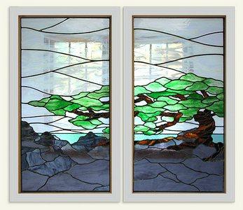 Витражные окна с бонсаем