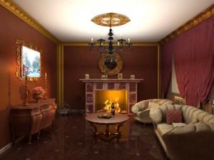 Классический дровяной камин в интерьере в классическом стиле..