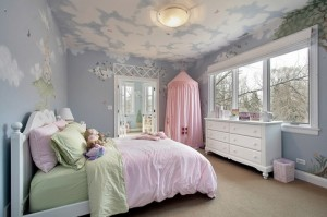Bedroom with wall designs