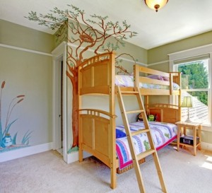 Baby girl bedroom with double bulk bed.