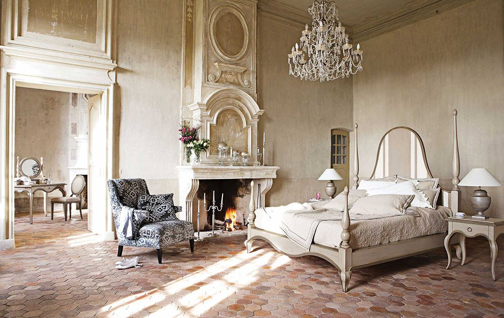 comfortable-antique-french-style-bedroom-design-with-fireplace-