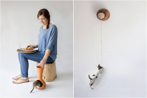 Кормушка и игрушка для кота