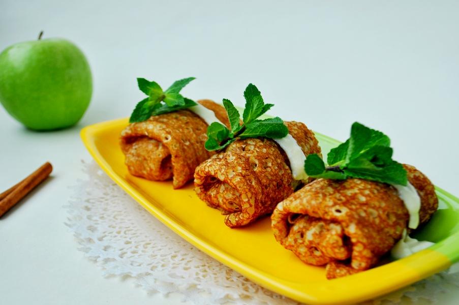 Блины фаршированные с яблоками рецепт