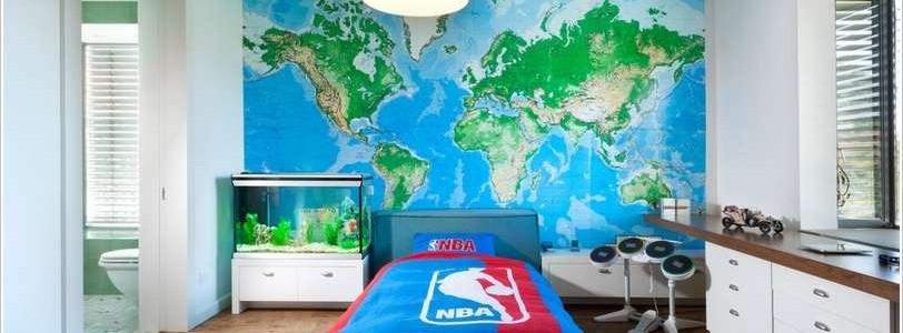 географическая карта в детской комнате