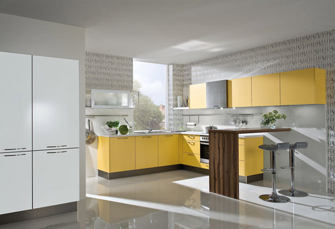 дизайн кухни желтого цвета