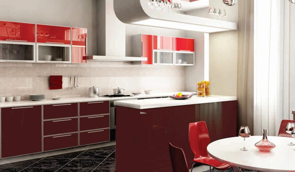 Кухня с алюминиевыми профилями