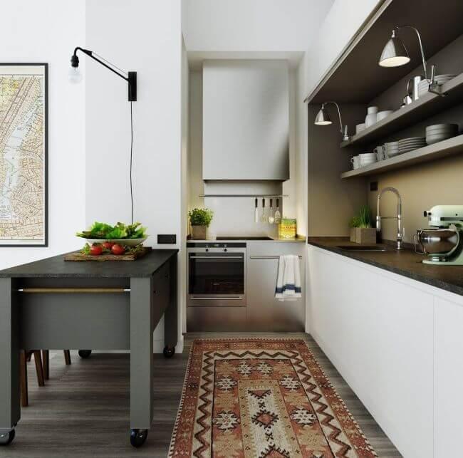 кухня в нише в форме Г