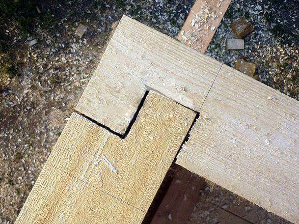 соединение бруса в коренной шип