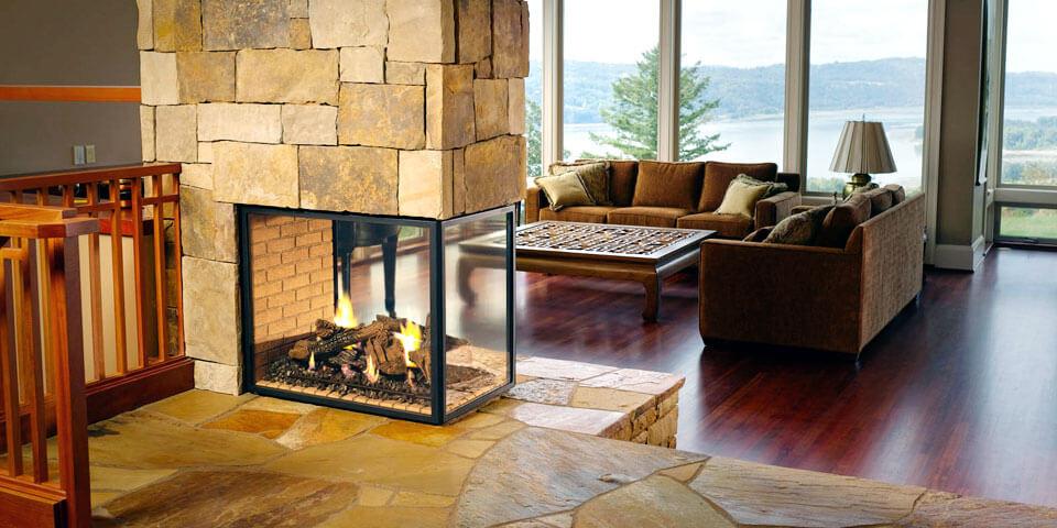 камин с термостойким стеклом