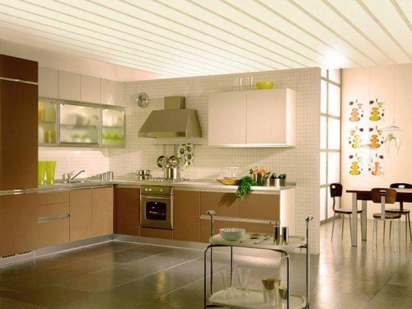 плитки из пластика потолок на кухне