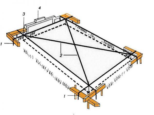 Разметка участка и монолитного фундамента