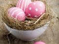 Painted easter egg in little bird nest